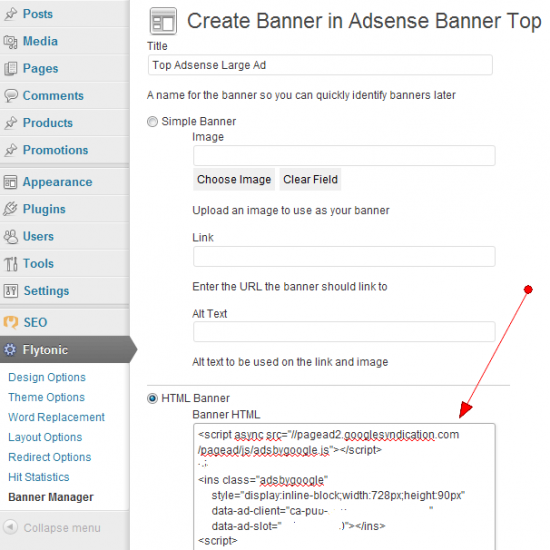 Adsense Banner Flytonic Themes