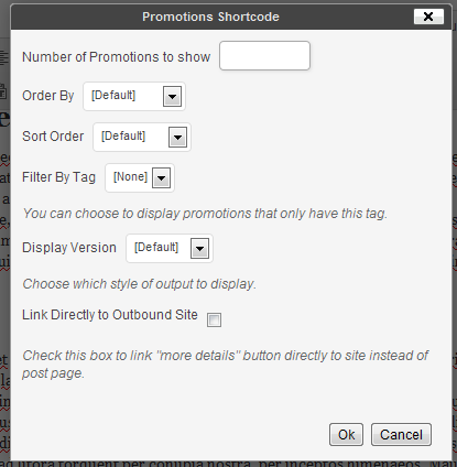 Promotions Shortcode