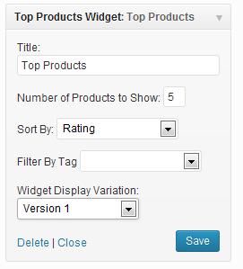 top products widget