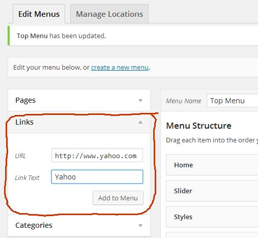 Adding custom links to the menu