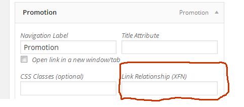 link relationship XFN WordPress