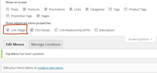 add link target to menu