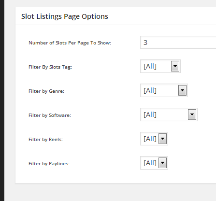 slots listings page template