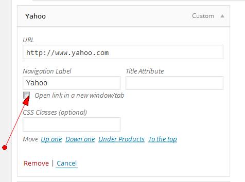 target window in WordPress menus