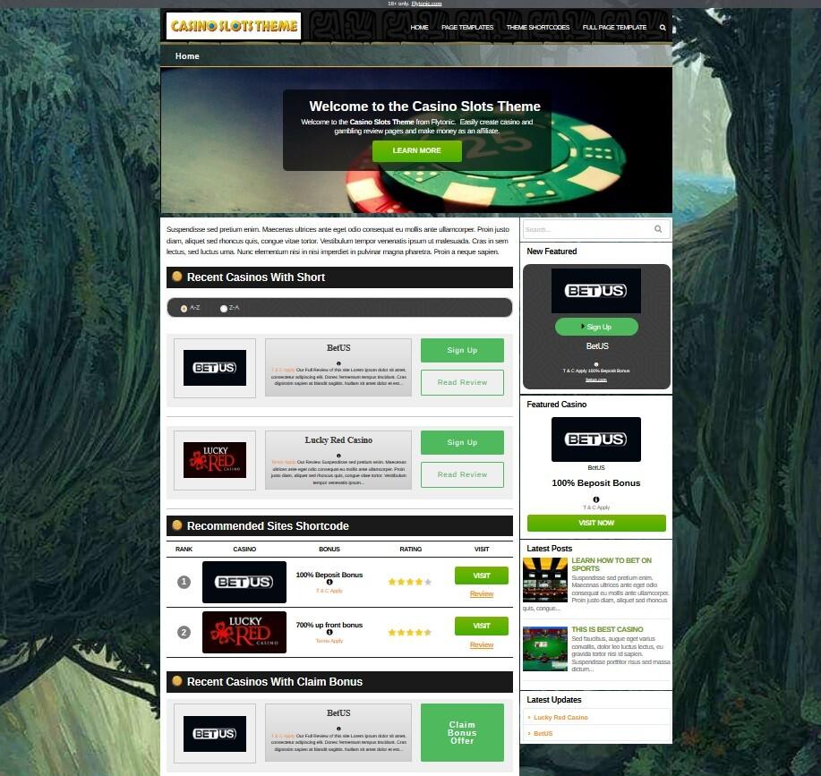 Casino slots theme | wp affiliate theme