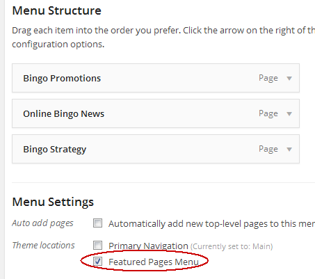 featured pages menu