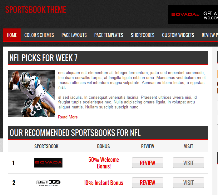 sports betting affiliate theme