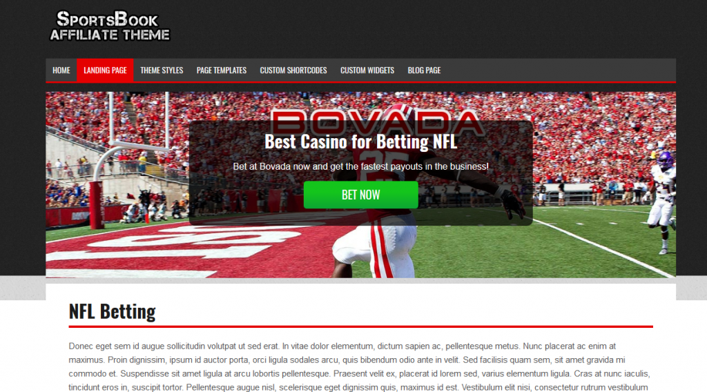 Sportsbook wordpress theme color options