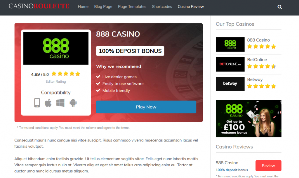 Casino Roulette WordPress Affiliate Theme