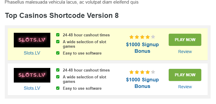 Casino review plugin updates via Flytonic