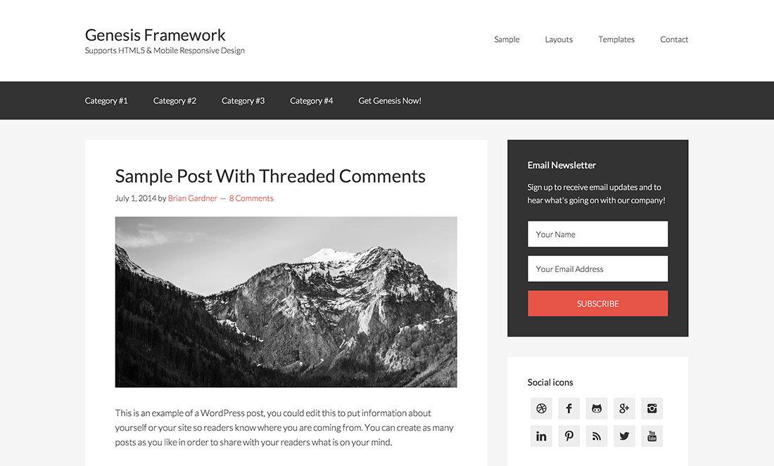 best free wordpress themes for affiliate marketing - Genesis Framework