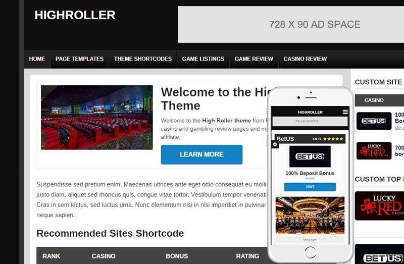 Highroller gambling theme - one of the best wordpress themes for affiliate marketing