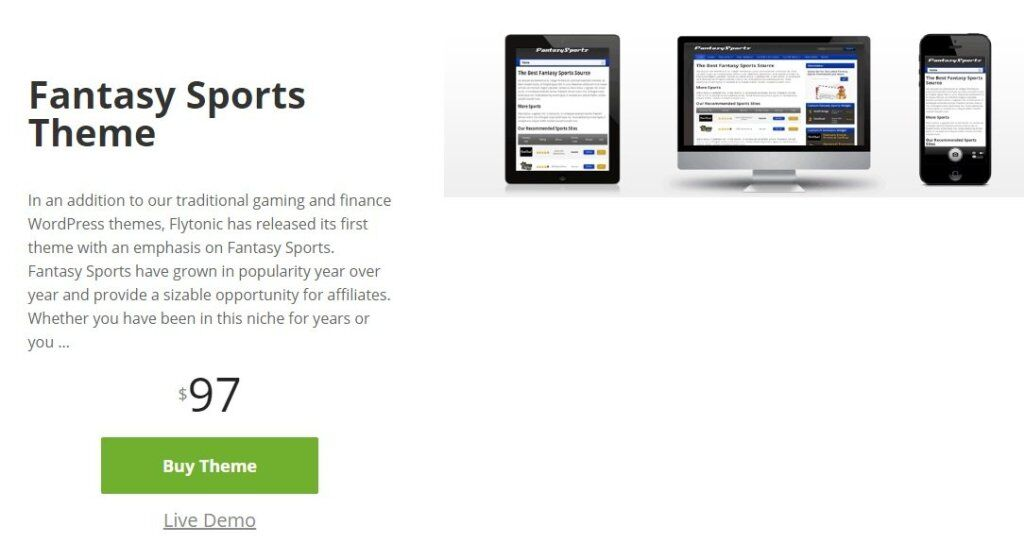 Fantasy Sports Website with flytonic themes